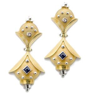 14k Gold Ornate Blue Sapphire Dangle Earrings